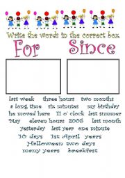 English Worksheet: for/since/already/yet/just