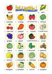 Pictionary***Fruit & Vegetables 1