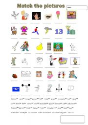 English Worksheets: Match the words
