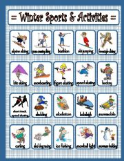 English Worksheet: Winter Sports & Activities