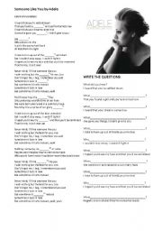 English Worksheet: Song: Someone Like You by Adele