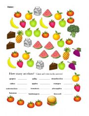 English Worksheets: How Many Are There?