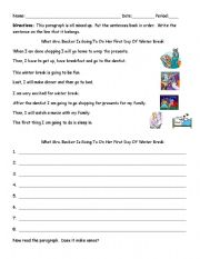 english worksheets sequencing paragraph what the teacher will do on her winter break. Black Bedroom Furniture Sets. Home Design Ideas