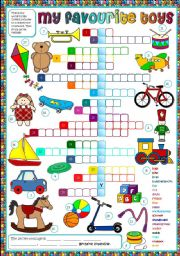 English Worksheet: My favourite toys - crossword (Greyscale + KEY included)
