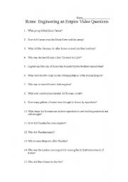 English worksheets: Engineering an Empire: Rome Video Questions