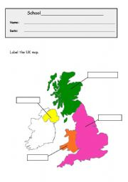 worksheet Map of the UK to label