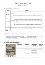 English Worksheet:  level 2, lesson Arts 5, Reading  a fable