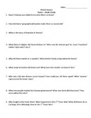 English Worksheets: Roman Republic & Empire Study Guide