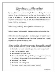 English Worksheets: Writing: My favourite Star