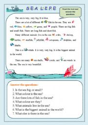 Sea Life/Reading Comprehension