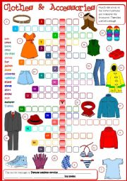 English Worksheet: Clothes & Accessories - crossword (Greyscale + KEY included)