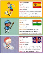 Role play cards on sports