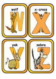 English Worksheet: Alphabet Flashcards with Animals