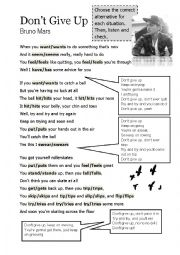 English Worksheet: Simple Present Song Activity - Don�t Give Up