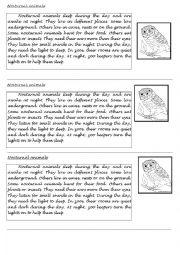 english worksheets nocturnal animals. Black Bedroom Furniture Sets. Home Design Ideas