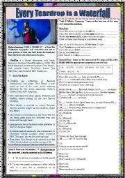English Worksheet: COLDPLAY SONG WORKSHEET: READING, LISTENING, SPEAKING AND GRAMMAR ACTIVITIES (