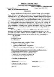 English Worksheet: deforestation exam