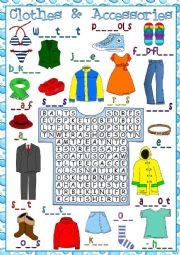 Clothes and accessories - wordsearch