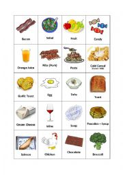 English Worksheet: Breakfast Foods (1/2)