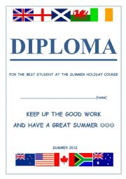 English Worksheet: DIPLOMA for the students at ENGLISH SPEAKING COUNTRIES SUMMER COURSE