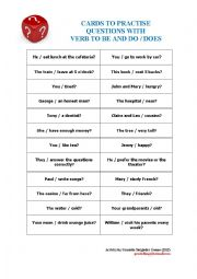 Cards to practise questions whith verb to be and auxiliaries do / does