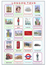 English Worksheet: London Tour Picture Dictionary