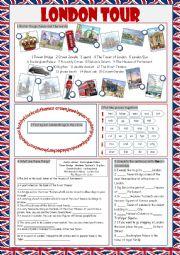 English Worksheet: London Tour (Vocabulary Exercises)