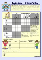 Logic game (35th) - Children´s Day *** for elementary ss *** with key *** fully editable *** B&W