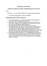 English Worksheet: News articles � Interpreting Pictures and Writing articles.