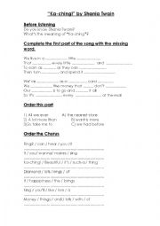 English Worksheet: �Ka-ching!� by Shania Twain