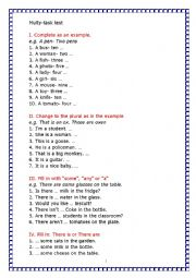 English Worksheet: many tasks test 5th form