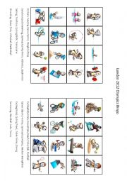 English Worksheet: London 2012 Olympic Games Bingo Part 1