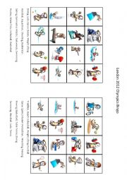 English Worksheet: London Olympic Games Bingo Part 3