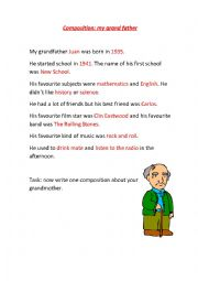 English Worksheet: composition: about my grandfather
