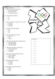 English Worksheet: London Olympic Games 2012 Quiz