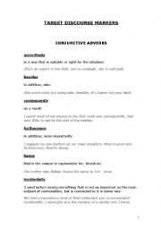 English Worksheet: DISCOURSE MARKERS