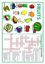 English Worksheet: Fruits 1 (Crossword and Riddle)
