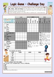 English Worksheet: Logic game (36th) - Challange Day *** for elementary ss *** with key *** fully editable *** B&W