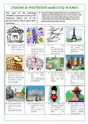 English Worksheet: IDIOMS  with CITY NAMES (with key)