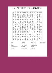 English Worksheet: New technologies wordsearch