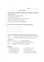 English Worksheet: Modal of Advice: Should, Ought To, Had Better