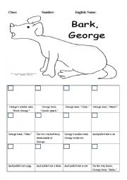 English Worksheet: Bark Geroge (prediction and make a sequence and draw the situation)