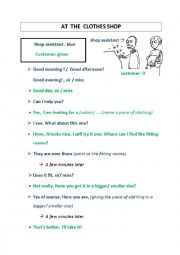 English Worksheet: clothes shopping (dialogue)