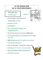 English Worksheet: grocery shopping (dialogue)