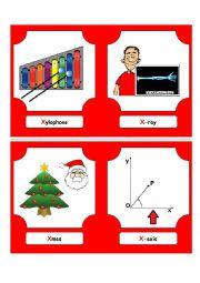 Alphabet Words - X  (flash cards)