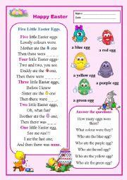 English Worksheet: Five Little Easter Eggs