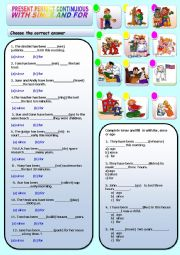 English Worksheet: PRESENT PERFECT CONTINUOUS WITH SINCE AND FOR  WITH ANSWER KEY