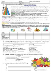 English Worksheet: food pyramid- fruit salad song- there is there are - should shouldn´t for advice