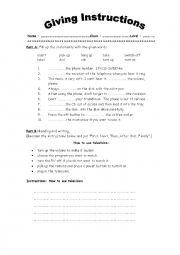 esl giving instructions worksheet