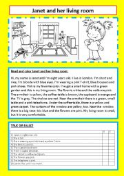 English Worksheet: Janet and her living room